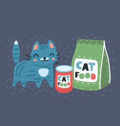 Cat next to a food vector