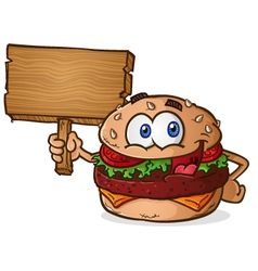 Cheeseburger cartoon character holding a sign vector