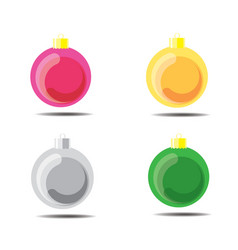 christmas ball pink yellow silver green vector image