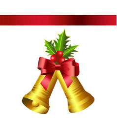 christmas gold bells and red bow vector image