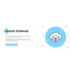 cloud storage icon banner outline template vector image