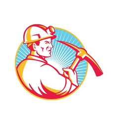 Coal Miner With Pick Axe Looking Up Retro vector