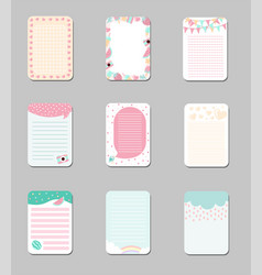 collection of cute cards with place for notes vector image