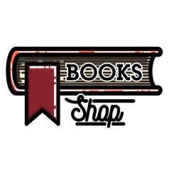 Color vintage books shop emblem vector