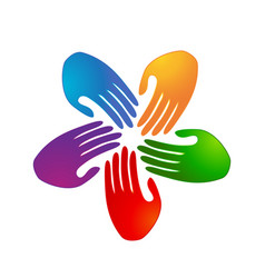 colorful group team hands logo vector image