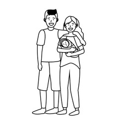 couple with bablack and white vector image