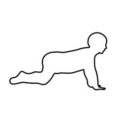 crawling baby black color icon vector image