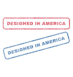 Designed in america textile stamps vector