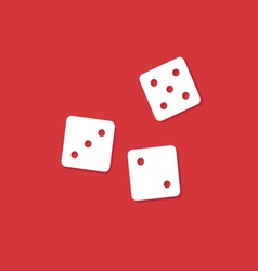 Dice cubes on red vector