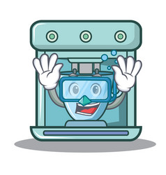 Diving coffee maker character cartoon vector