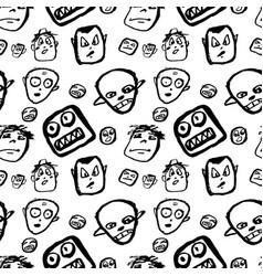 Doodles faces pattern vector