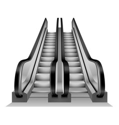 Escalator stairs mockup realistic style vector