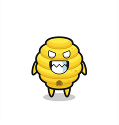 Evil expression of the bee hive cute mascot vector