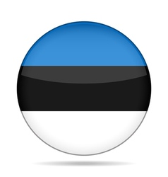 Flag of Estonia Shiny round button vector