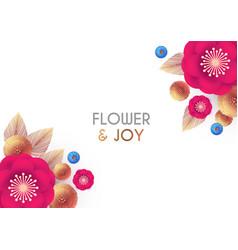 flower design simple flower and leaver card vector image