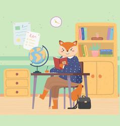 Fox schoolgirl with handbag sitting at a desk vector