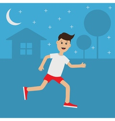 Funny cartoon running guy Night summer time House vector