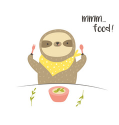 funny cute eating breakfast food lover vector image