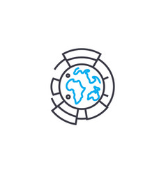global research thin line stroke icon vector image
