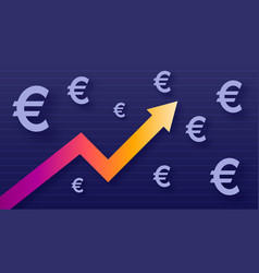 Graph show value growth of euro modern trendy vector