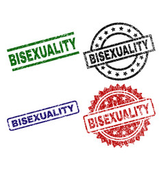 Grunge textured bisexuality seal stamps vector