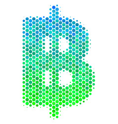 Halftone blue-green baht icon vector