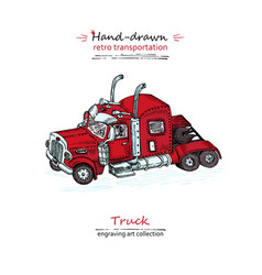 hand drawn red truck isolated on white background vector image