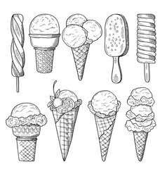Hand drawn set of ice creams vector