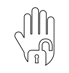 Hand human with padlock silhouette icon vector