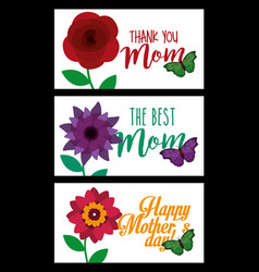 happy mothers day banners decoration flowers and vector image