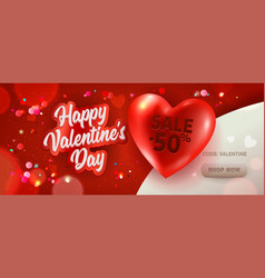 happy valentine day sale promotion banner discount vector image