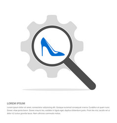 high-heels icon search glass with gear symbol vector image