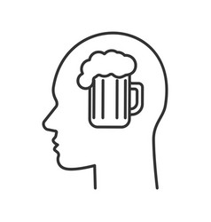 human head with beer mug inside linear icon vector image