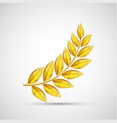 icon gold olive branch symbol of victory and vector image