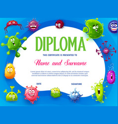 Kids diploma with viruses and microbes characters vector