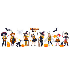 kids in costumes at halloween party vector image