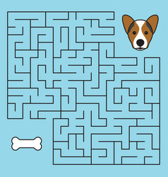 Labyrinth maze game with solution help dog vector
