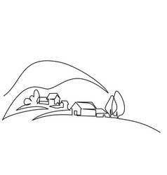 landscape with village on hill vector image