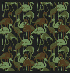 Military seamless patterns with tropical flamingo vector