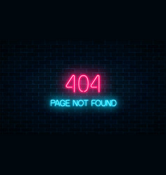 Neon sign of 404 error page not found on dark vector