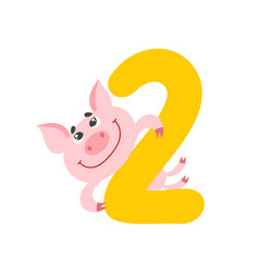number two with cute cartoon pig isolated on white vector image