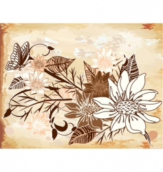 old paper with flowers vector image