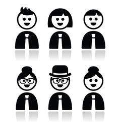 People in bussiness clothes tie icons set vector
