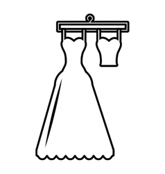 Pictogram wedding dress bride hanging hook design vector