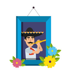 Picture of mexican mariachi with trumpet vector