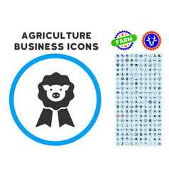 Pig award stamp rounded icon with set vector
