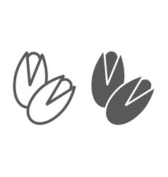 Pistachio line and glyph icon vegetable vector