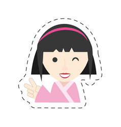 Portrait japanese girl wink smile vector