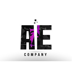 Purple black alphabet letter ae a e logo vector