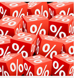 red dice cube percentage vector image